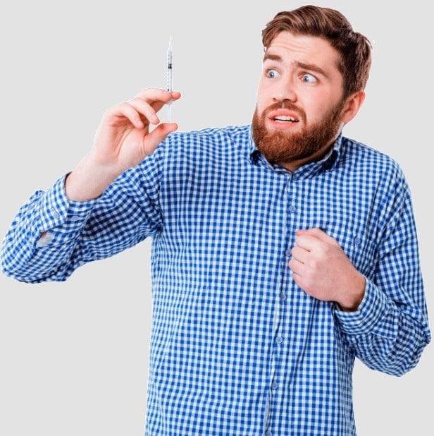 man scared of needles