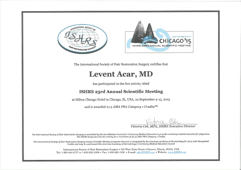 Dr. Levent Acar got his certificate from ISHRS congress 2015 in Chicago