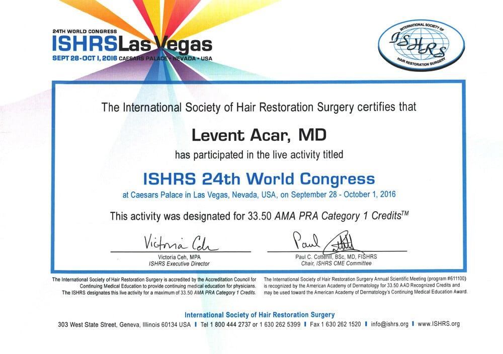 Сертификат Доктора Levent Acar ISHRS Лас-Вегас 2016
