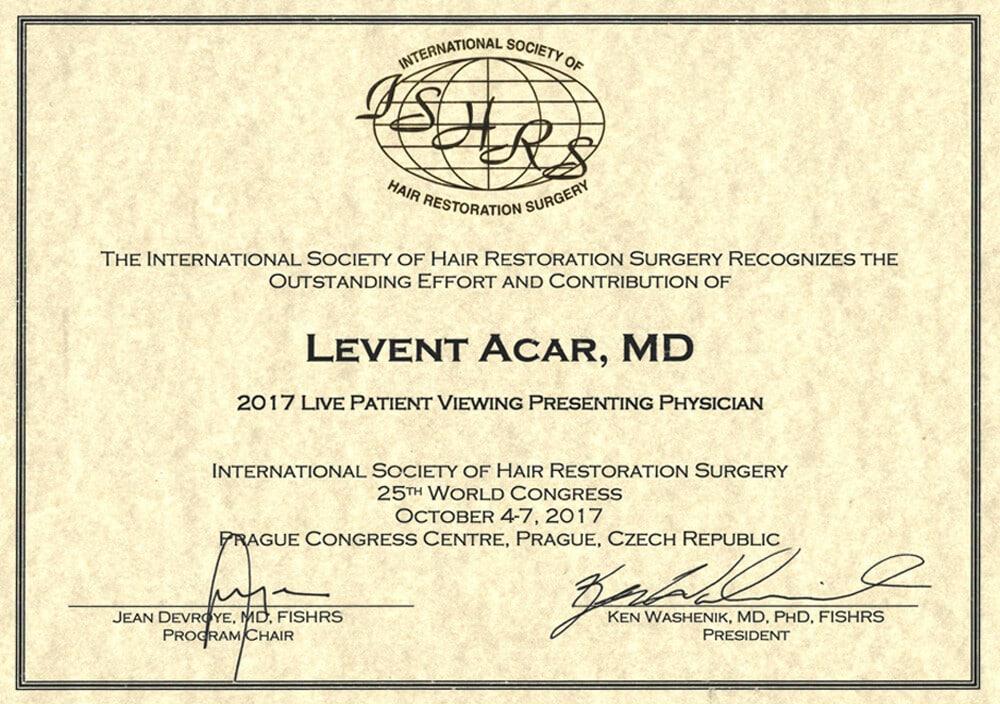Сертификат Доктора Levent Acar ISHRS Прага 2017
