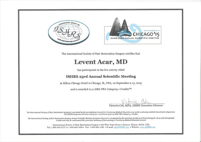 ISHRS сертификат доктор Levent Acar Чикаго 2015