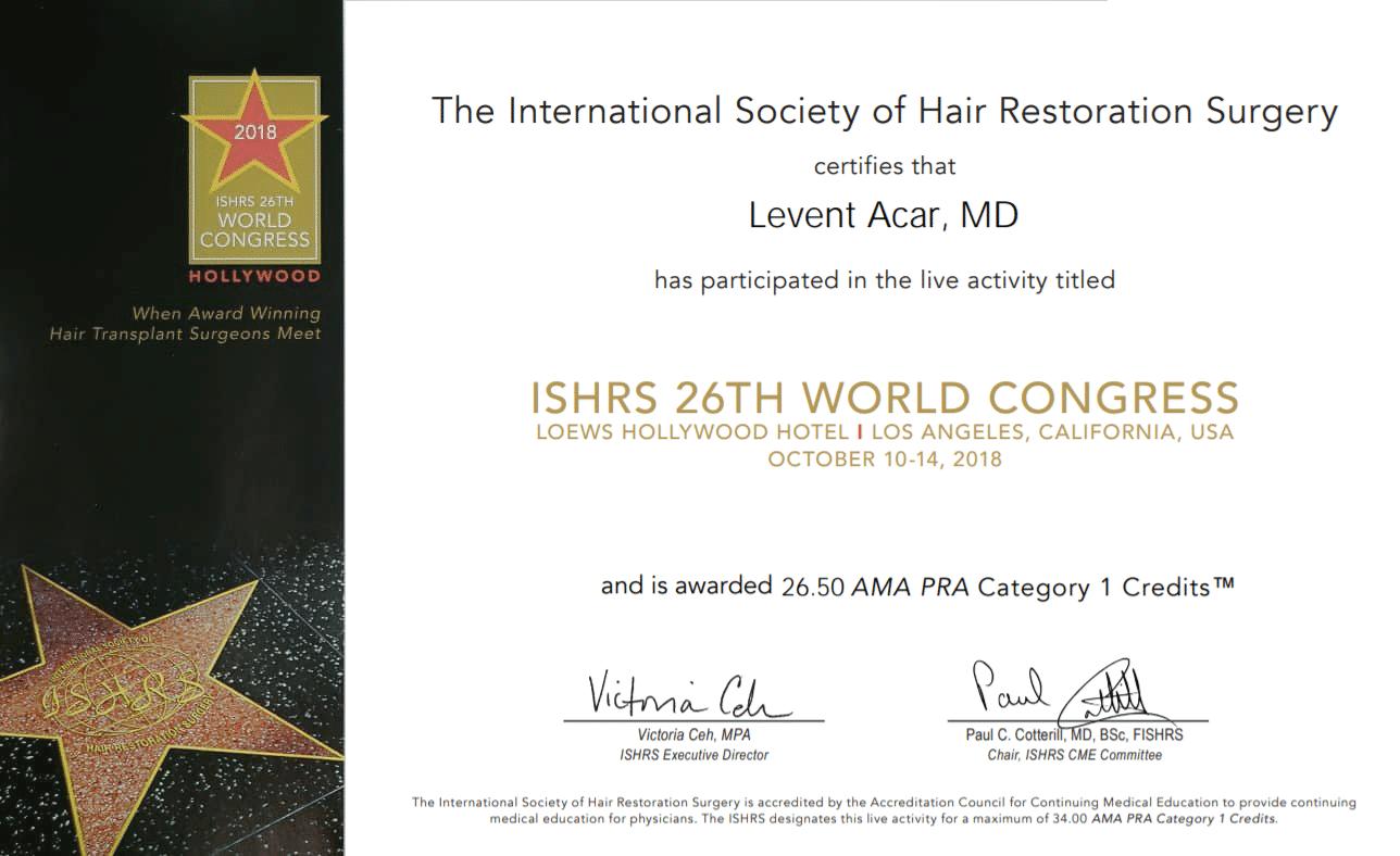 hollywood-ishrs-levent-acar-hair-transplantation-congress-2018 сертификат