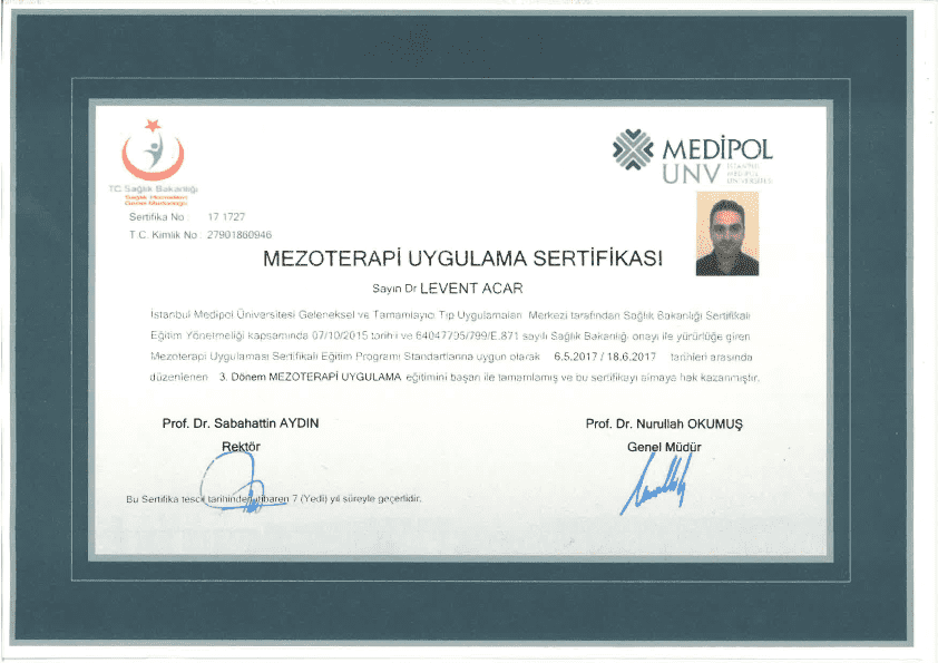 Medical Aesthetic Workshop in İstanbul Turkish Health Ministry Private Medipol University certificate of Dr Acar