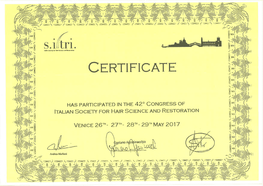 sitri-сертификат доктор Levent Acar Венеция 2016