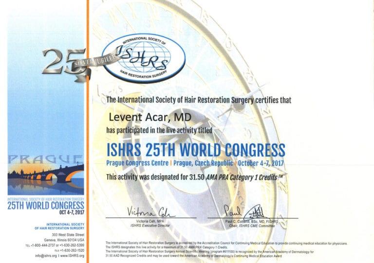 ishrs 2015 uluslararası saç ekimi sertifikası levent acar